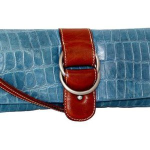 Nino Bossi | Blue Croc-Embossed Leather Clutch-W.